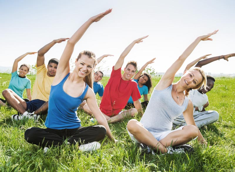 Teenagers enjoying Yoga